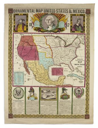 PHELPS, HUMPHREY. Ornamental Map of the United States & Mexico.