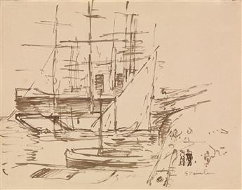 THÉOPHILE-ALEXANDRE STEINLEN (Lausanne 1853-1923 Paris) A Harbor Scene with Ships.