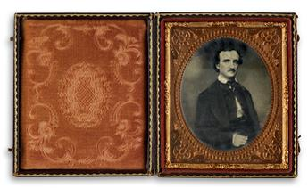 (EDGAR ALLAN POE) (1809-1849) Sixth-plate tintype of the American poet and writer Edgar Allan Poe, which was taken a few weeks before P