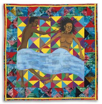 FAITH RINGGOLD (1930 -   ) Sleeping: Lovers Quilt #2.
