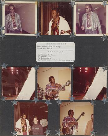 (ROCK N ROLL) A funky album with 249 hoppin photographs of Rock n Roll musicians such as Frankie Avalon, Jerry Lee Lewis, Chuck Be