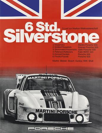 STRENGER AGENCY. 6 STD. SILVERSTONE / PORSCHE. 1977. 39x30 inches, 100x76 cm. F. Porsche, Stuttgart.