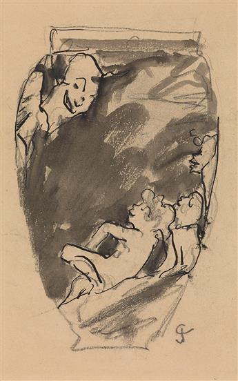 GUSTAVE-JOSEPH CHÉRET (Paris 1838-1894 Paris) Group of 5 pen and ink and wash studies for vases.