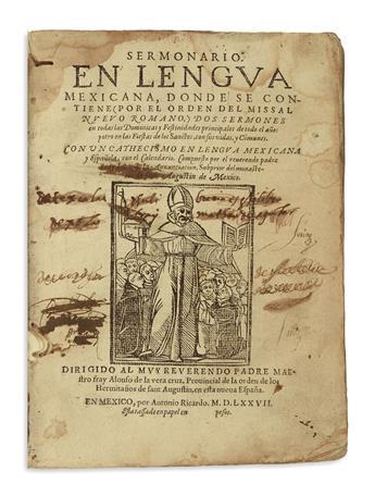 (MEXICAN IMPRINT--1577.) Anunciación, Juan de la. Sermonario en lengua mexicana.