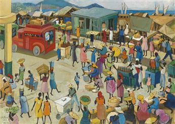 LOÏS MAILOU JONES (1905 - 1998) Bazar Du Quai, Port Au Prince, Haiti.
