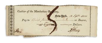 BURR, AARON. Party-printed Document Signed, A. Burr, a check to Philip Jacobs