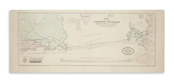 (ATLANTIC TELEGRAPH.) Korff Brothers. Map of the Submarine Telegraph Between America & Europe,
