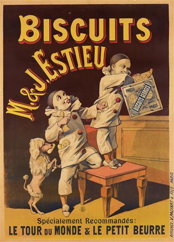 DESIGNER UNKNOWN. BISCUITS M. & J. ESTIEU. Circa 1890s. 49x35 inches, 125x90 cm. V. Palyart & Fils, Paris.