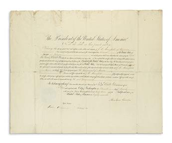 LINCOLN, ABRAHAM. Partly-printed Document Signed, as President, appointing J.H. Mansfield Consul in Tabasco, Mexico.