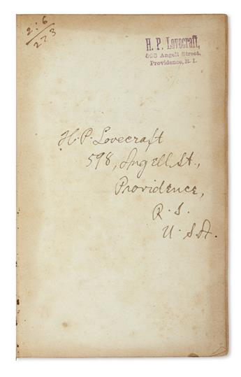 LOVECRAFT, H.P. Edward Turner. Elements of Chemistry. Signed on the front free endpaper, with holograph street address: