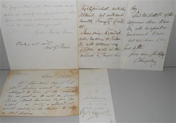 (WRITERS--19TH CENTURY.) Group of 4 items Signed, or Signed and Inscribed.