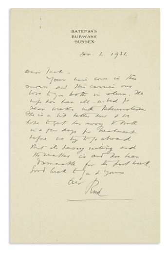 KIPLING, RUDYARD. Autograph Letter Signed, Rud, to John Hays Hammond (Dear Jack),