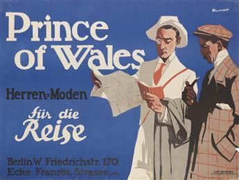 FRITZ C. RUMPF (CARL GEORG, 1888-1949). PRINCE OF WALES / HERREN = MODEN FÜR DIE REISE. Circa 1910. 27x36 inches, 70x93 cm. Curt Behren