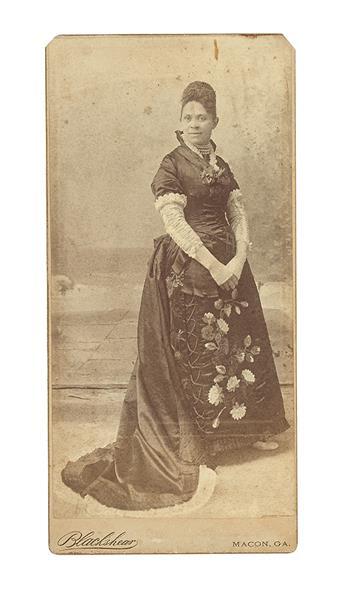 (EDUCATION--BROWN, HALLIE Q.) Photographic card of California businesswoman Hallie Q. Brown.