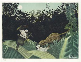 HENRI ROUSSEAU (after) La Chase du Tigre
