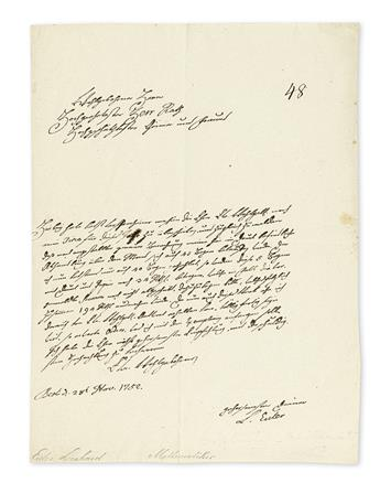 (SCIENTISTS.) EULER, LEONHARD. Autograph Letter Signed, L. Euler, to Secretary of the Saint Petersburg Academy of Sciences Johann Dan