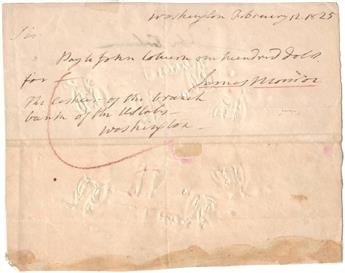 MONROE, JAMES. Autograph Document Signed, as President, a draft on the Bank of the United States in the amount of $100 to John Coburn.
