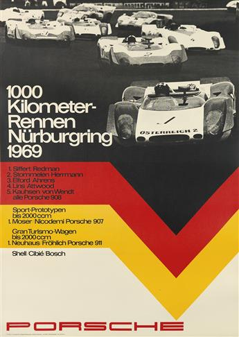 ERICH STRENGER (1922-1993). PORSCHE. Group of 3 posters. 1968-1970. Sizes vary.