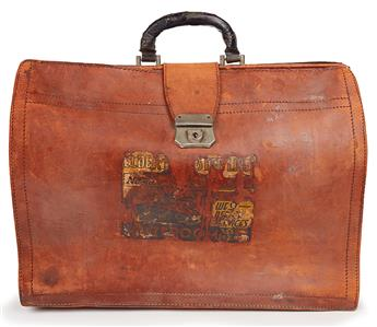 (LITERATURE AND POETRY.) WRIGHT, RICHARD. The authors large leather briefcase used by him when he was living in Paris.