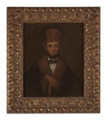 (PAINTINGS.) Portrait of Lincoln in a brown top hat and cloak.