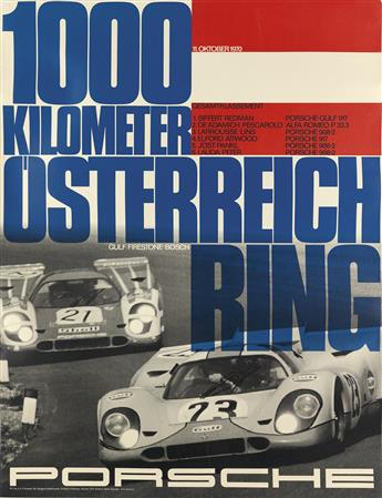 ERICH STRENGER (1922-1993). PORSCHE. Group of 3 posters. 1970s. Each approximately 39x30 inches, 101x77 cm.