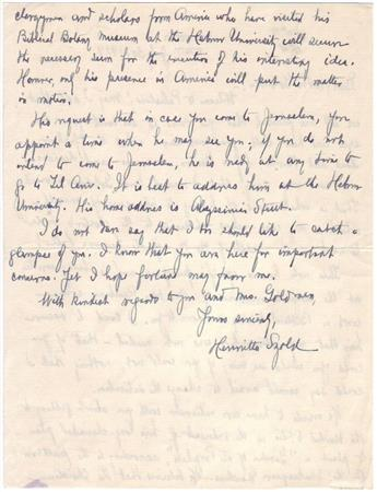 (ISRAEL.) SZOLD, HENRIETTA. Autograph Letter Signed, to Rabbi Solomon Goldman, welcoming him to Israel