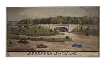 (NEW YORK CITY.) Group of 3 watercolor designs for highway overpasses in Queens from the Robert Moses era.