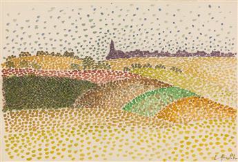 ÉMILE ANCELET (Charleville 1865-Paris 1951) Group of 4 color crayon landscape drawings.