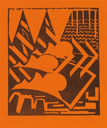 (DESIGN.) Peeters, Joszef. 2 untitled Linocuts.