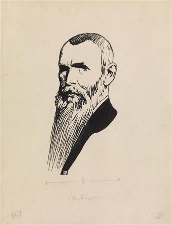 FÉLIX VALLOTTON (Lausanne 1865-1925 Paris) Two brush and ink portrait drawings.