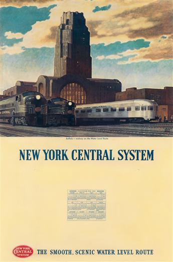 LESLIE RAGAN (1897-1972). NEW YORK CENTRAL SYSTEM / BUFFALO. Calendar back. 1953. 26x17 inches, 68x45 cm.