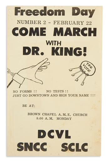 (KING, MARTIN LUTHER.) Freedom Day . . . Come March with Dr. King!