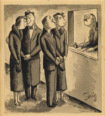 WILLIAM STEIG. Two couples registering at hotel.