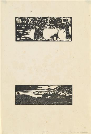 KANDINSKY, WASILY. 2 woodcut proofs from Les Tendances Nouvelles.