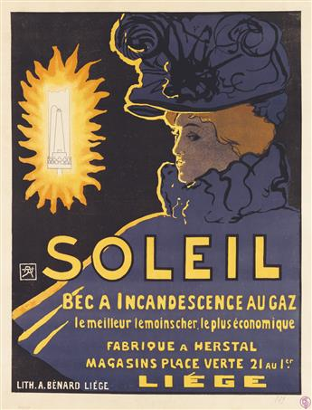 ARMAND RASSENFOSSE (1862-1934). SOLEIL / BEC A INCANDESCENCE AU GAZ. 1897. 28x21 inches, 71x54 cm. A. Bénard, Liege.