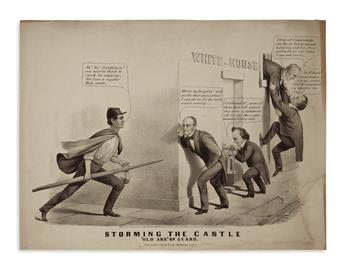 (PRINTS--CARTOONS.) [Maurer, Louis; artist?] Storming the Castle: Old Abe on Guard.
