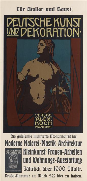 PETER BEHRENS (1868-1940). DEUTSCHE KUNST UND DEKORATION. 1903. 23x11 inches, 60x29 cm. Alex Koch, Darmstadt.