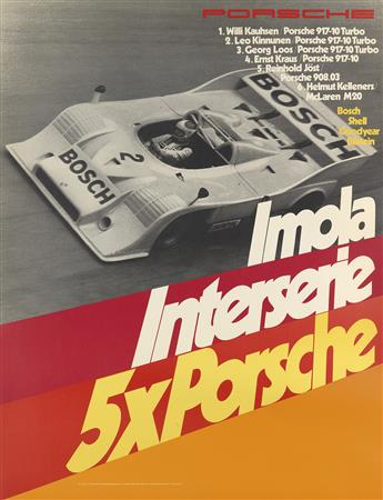 ATELIER STRENGER. PORSCHE. Group of 3 posters. 1970s. Each approximately 39x30 inches, 101x76 cm.