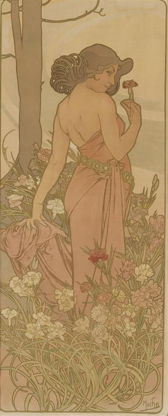 ALPHONSE MUCHA (1860-1939). [THE FLOWERS.] Group of 3 decorative panels. 1898. 40x16 inches, 101x42 cm. [F. Champenois, Paris.]