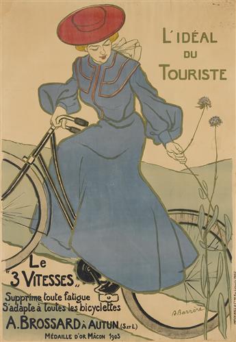 ADRIEN BARRÈRE (1877-1931). A. BROSSARD / LE 3 VITESSES / LIDÉAL DU TOURISTE. 1903. 53x37 inches, 135x95 cm. Ch. Wall & Cie., Paris.