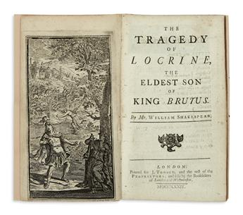 SHAKESPEARE, WILLIAM, attributed to.  The Tragedy of Locrine, the Eldest Son of King Brutus, by Mr. William Shakespear.  1734