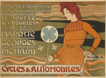 EUGÈNE GRASSET (1841-1917). MARQUE GEORGES RICHARD / CYCLES & AUTOMOBILES. Circa 1897. 42x58 inches, 108x147 cm. Vaugirard G. de Malher