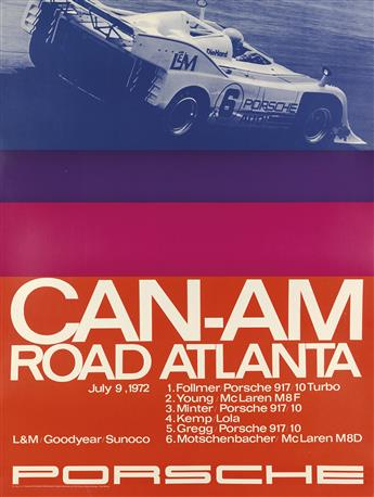 VARIOUS ARTISTS. PORSCHE. Group of 3 posters. 1970s. Each approximately 39x30 inches, 100x76 cm.