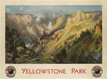 DAPRÈS THOMAS MORAN (1837-1926). YELLOWSTONE PARK / NORTHERN PACIFIC. 1924. 30x40 inches, 76x102 cm. Brown & Bigelow, St. Paul.