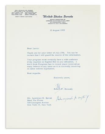 KENNEDY, ROBERT F. Typed Letter Signed, Bob, as Senator, to Meet the Press co-founder Lawrence E. Spivak,