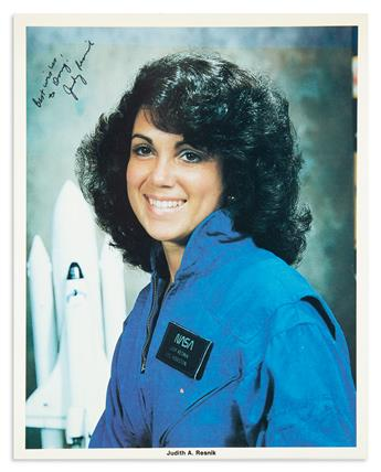 (ASTRONAUTS.) RESNIK, JUDITH A. Photograph Signed and Inscribed, Best wishes / to Doug / Judy Resnik,