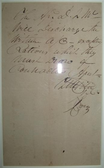PIKE, ZEBULON MONTGOMERY. Autograph Endorsement Signed, ZMPike / Col[onel] / Com[mandin]g, written vertically on the verso of an acco
