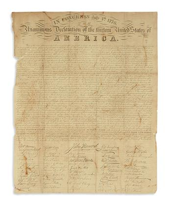 (DECLARATION OF INDEPENDENCE.) In Congress July 4th. 1776. The Unanimous Declaration of the Thirteen United States of America.