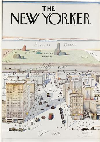 SAUL STEINBERG (1914-1999). THE NEW YORKER. 1976. 42x29 inches, 107x73 cm. The New Yorker Magazine, Inc., New York.