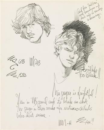 HARRY BUSH (1925-1994)  Original pencil sketch of two male faces.